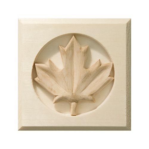 White Hardwood Maple Leaf Bevel Edge Corner Block - 3-1/2 x 3-1/2 Inches