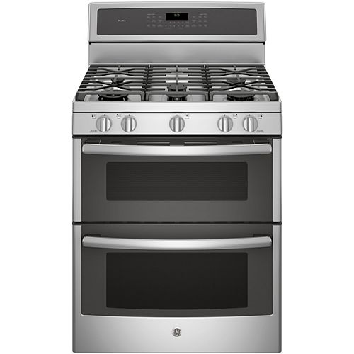 GE 30-inch 6.8 cu. ft. Double Oven Gas Range with Self-Cleaning Convection Oven in Stainless Steel