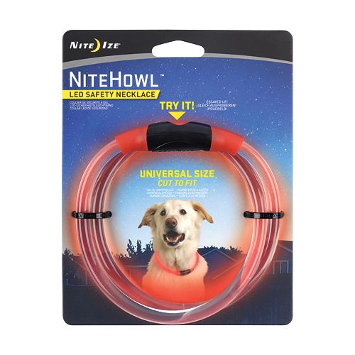 NiteHowl LED Safety Necklace, Universal, Reusable Visibility Necklace for Pets, Red