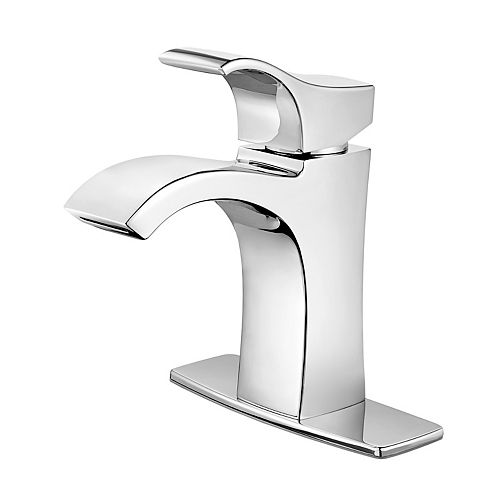 Venturi Single Hole 1-Handle High Arc Waterfall-Flow Bathroom Faucet in Chrome with Lever Handle