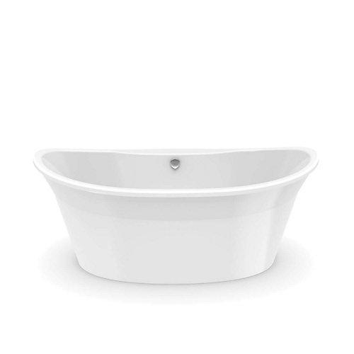 Orchestra 66-inch Fiberglass Centre Drain Flat-bottom Freestanding Bathtub in White