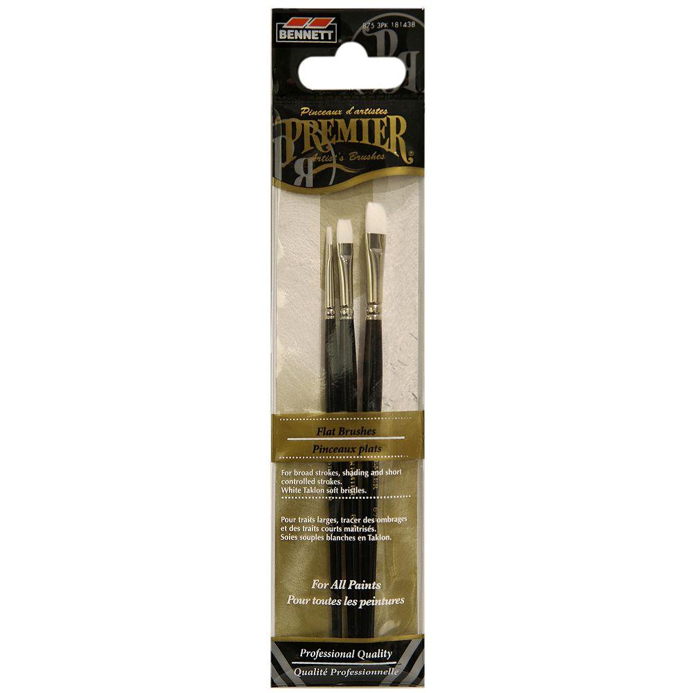 BENNETT Flat Professional Artist Brushes (3-Pack)