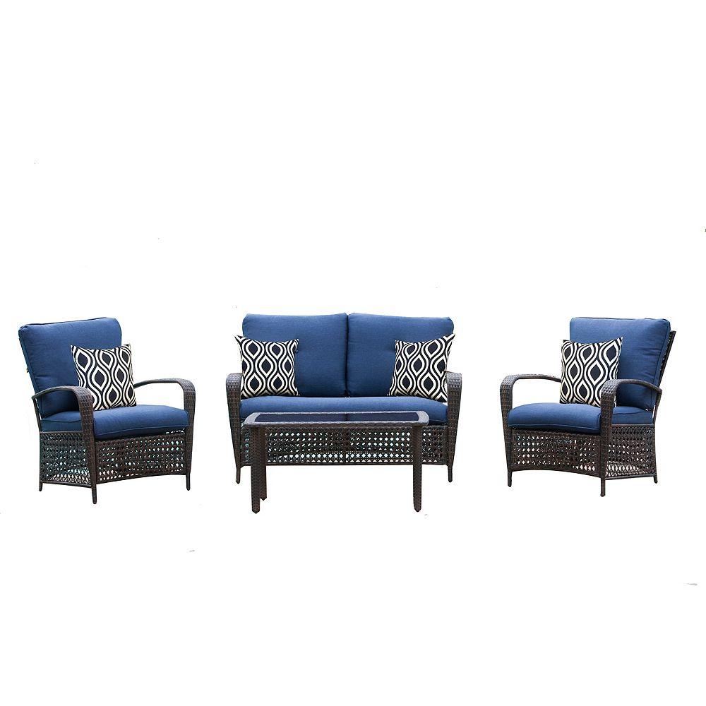 Hampton Bay Delaronde 4-Piece Dark Brown Wicker Patio Chat Set with Navy Cushions