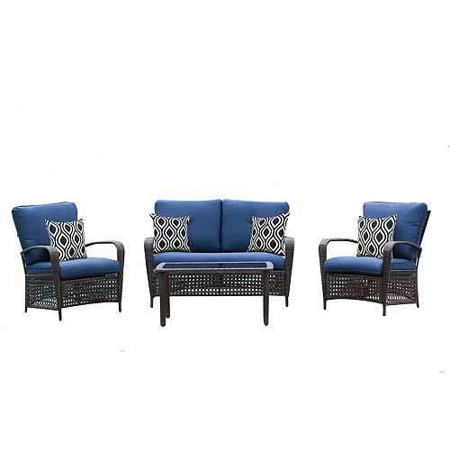 Delaronde Dark Brown 4-Piece Wicker Patio Chat Set with Navy Cushions