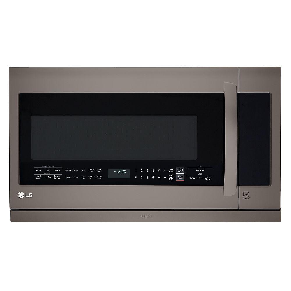 LG Electronics Four à micro-ondes de 2,2 pieds cubes avec sortie coulissante ExtendaVent en acier inoxydable noir avec EasyClean® et cuisson à capteur