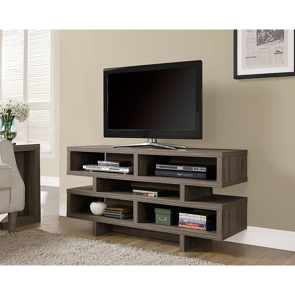 Monarch Specialties Dark Taupe Reclaimed-Look Hollow-Core 48 inchL Tv Console