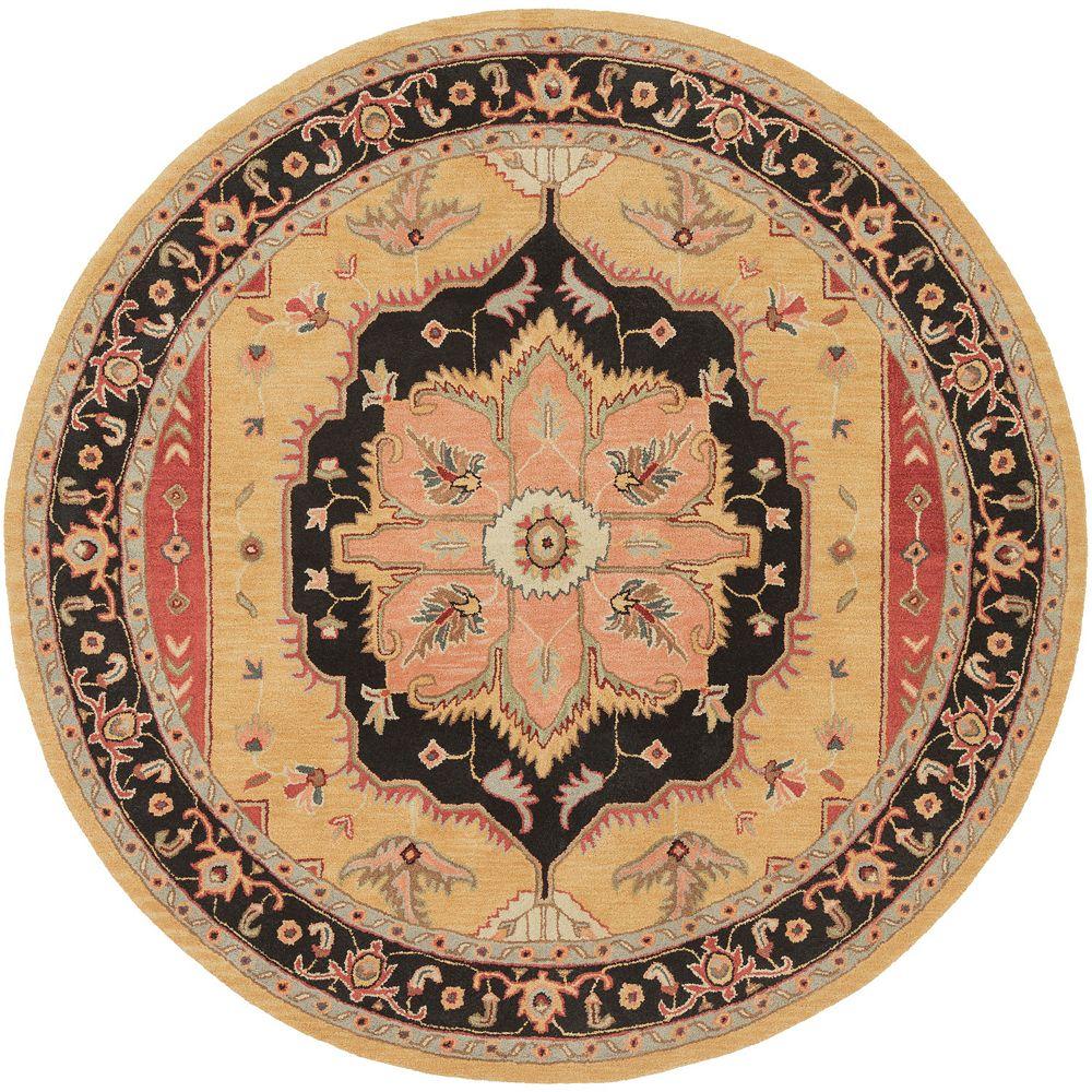 Artistic Weavers Carpette d'intérieur, 3 pi 6 po x 3 pi 6 po, style transitionnel, ronde, orange Middleton Mia
