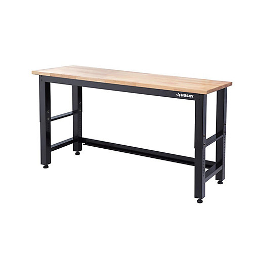 72-inch Adjustable Workbench with Solid Wood Top