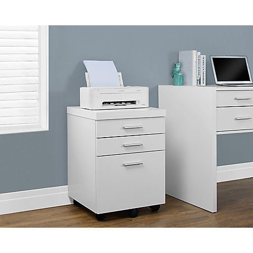 3-Drawer Manufactured Wood Filing Cabinet in White