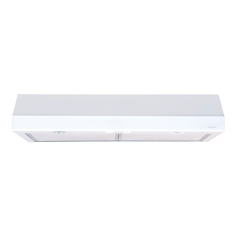 Nutone 30 Inch Under Cabinet Range Hood, 300 Max Blower CFM, White