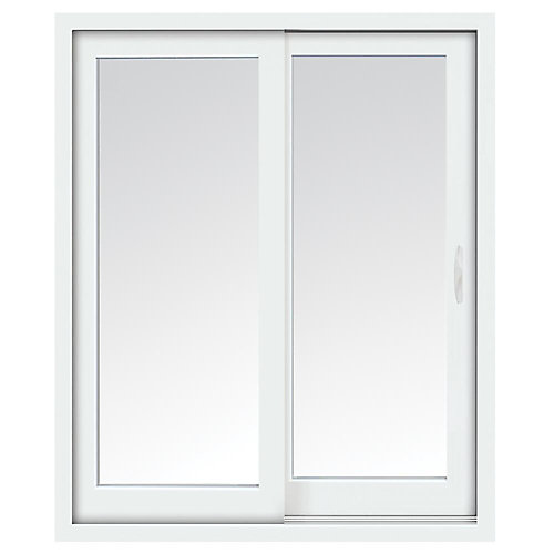 72-inch x 80-inch Glacier White Right-Hand Sliding Low-E Vinyl Patio Door with Screen, Handle Set