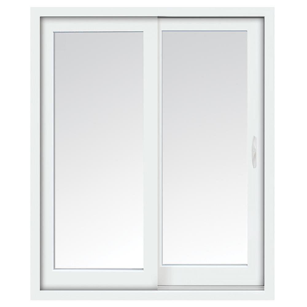 STANLEY Doors 72-inch x 80-inch Glacier White Right-Hand Sliding Low-E Vinyl Patio Door with Screen, Handle Set
