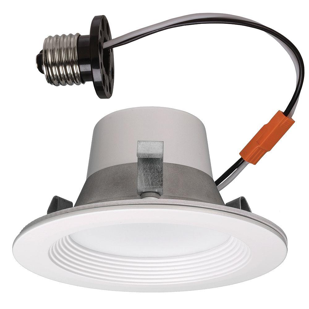 Commercial Electric Luminaire intelligent encastré de modernisation à DEL en blanc mat  4 po- ENERGY STAR®