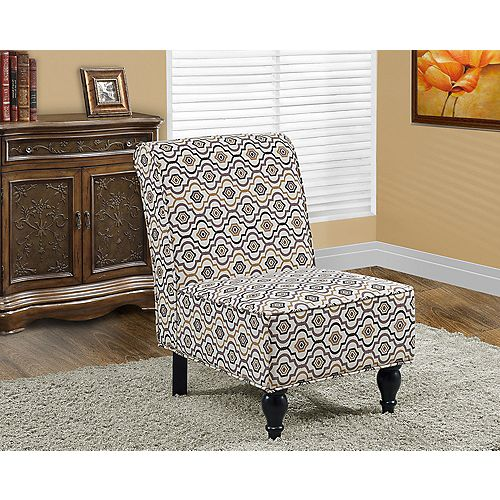 Contemporary Cotton Accent Chair in Brown