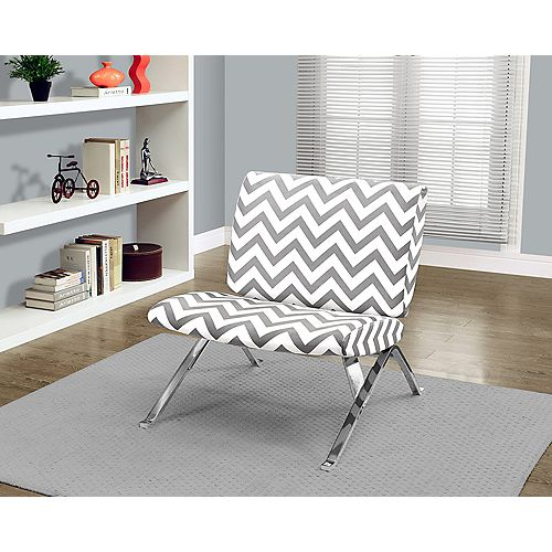 Contemporary Cotton Accent Chair in Grey with Chevron Pattern