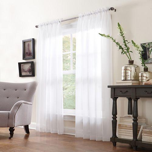 Paire de rideaux à passe-tringle San Marino transparent - largeur 150 cm x longueur 241 cm, Blanc