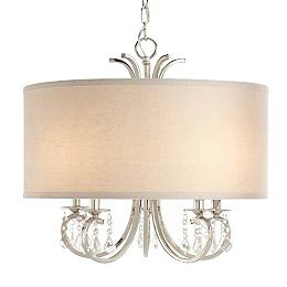 5-Light 40W Polished Nickel Chandelier with White Linen Drum Shade and Dangling Glass Beads