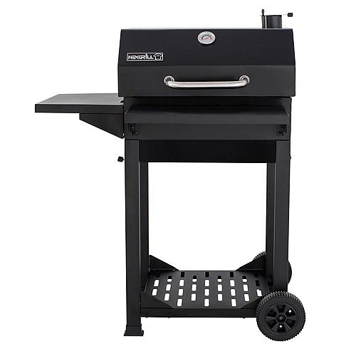 Cart-Style Charcoal BBQ in Black with Side Shelf and Foldable Front Shelf