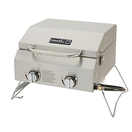 2-Burner Portable Propane Table Top BBQ in Stainless Steel