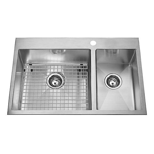18 Gauge SS hand fab sink & half dualmount kitchen sink, 12 mm radius, 1 -hole