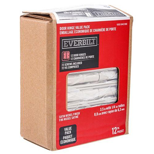 Everbilt 3.5-inch Satin Nickel 1/4rd Door Hinge (12-Pack)