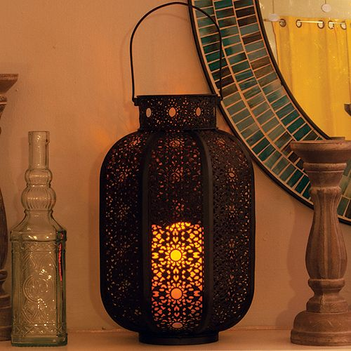 Cadiz LED Candle Lantern with On/Off Timer
