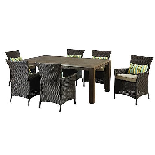 Table et fauteuils de jardin tressés Tacana, 7pièces, avec coussins beiges
