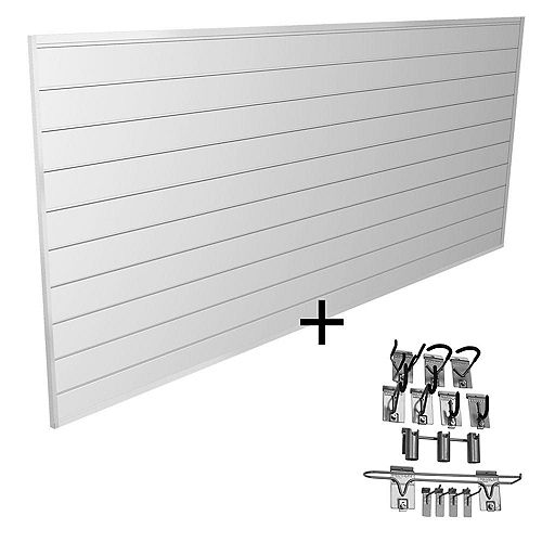 Proslat 32 sq. ft. Sports Bundle Wall Storage System with 13 Hooks in White