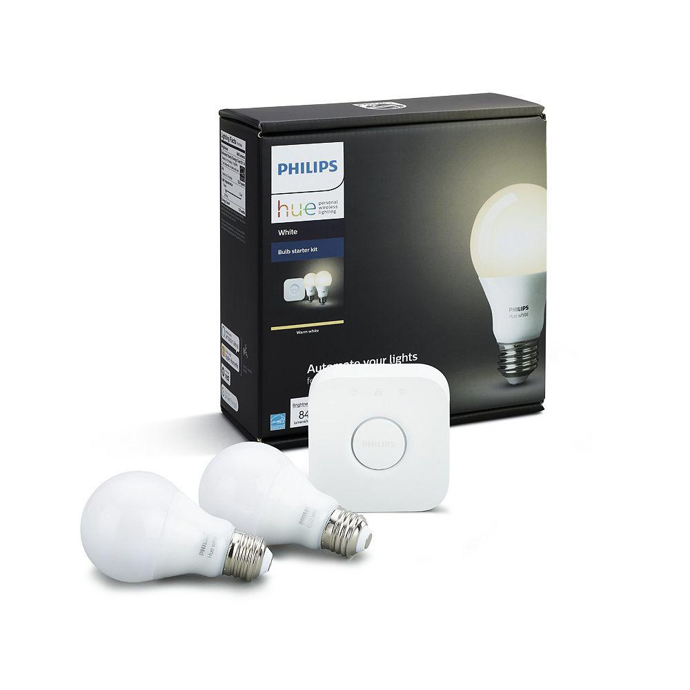 Philips HUE Warm White 2700K A19 Starter Kit with 2 Bulbs and Hue Bridge
