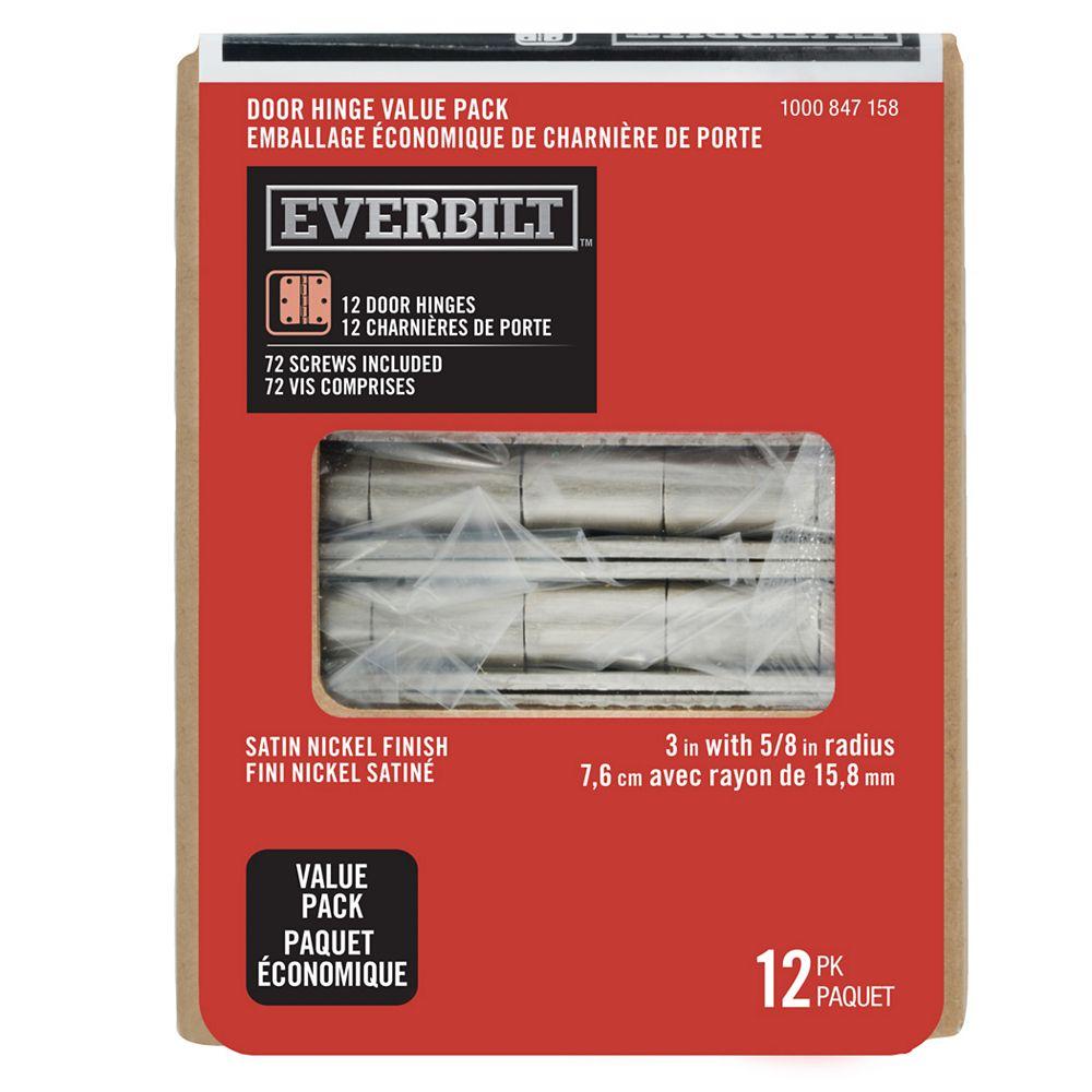 Everbilt Charnière de porte 3 po en nickel satiné avec rayon de 5/8 po, Paquet économique (12pk)