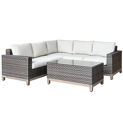 Ann Arbor 4-Piece All-Weather Wicker Patio Sectional Set  with Light Beige Cushions