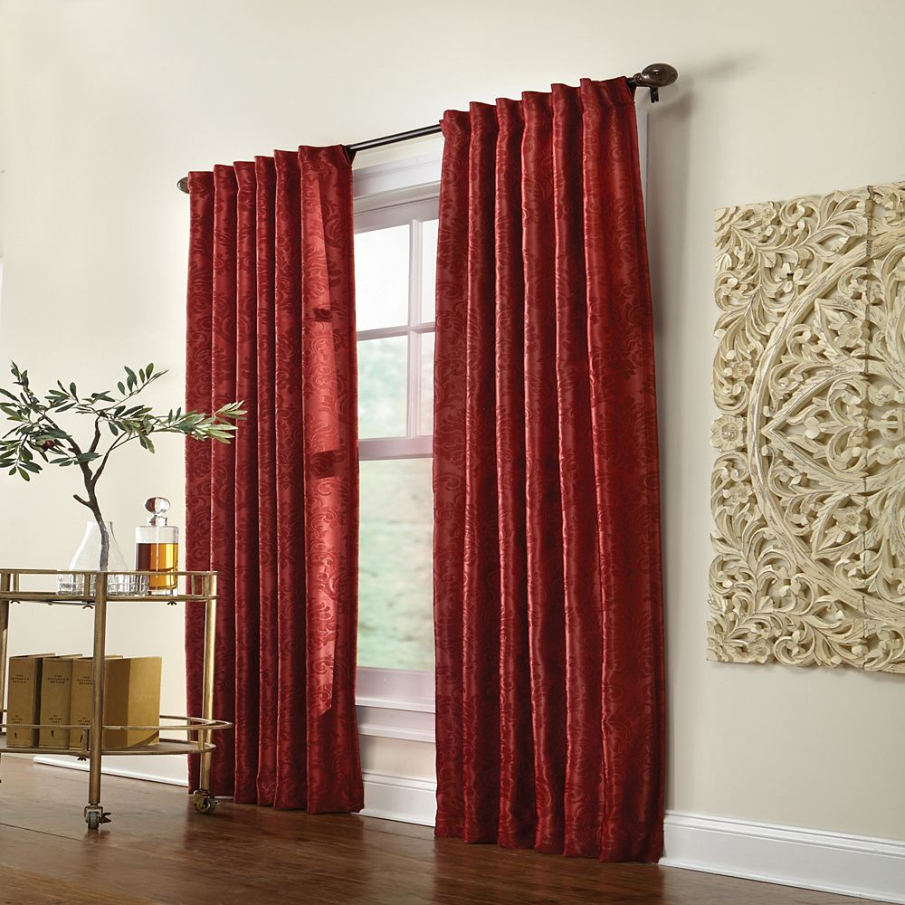 Home Decorators Collection Belgique Blackout  Back Tab Curtain 50 inches width X 84 inches length, Burgundy