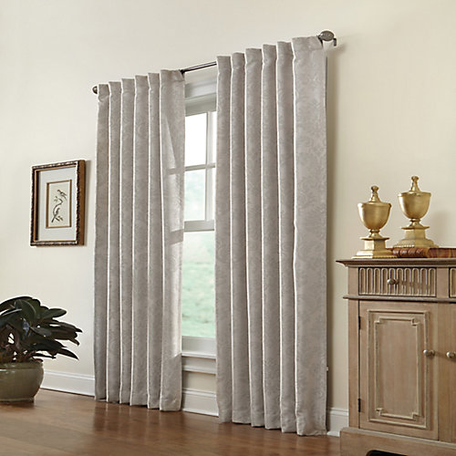 Belgique Blackout Back Tab Curtain 50 inches width X 108 inches length, Ivory