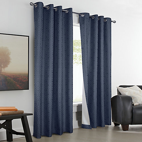 Honeygate 100% Blackout Grommet Curtain 50 inches width X 108 inches length, Navy