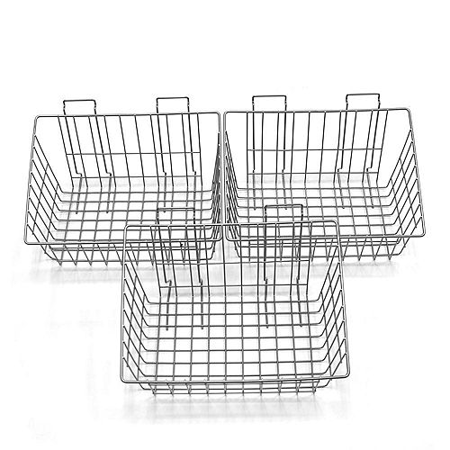 Wall Storage Solutions - Baskets, 15 Inch x 11 Inch x 8 Inch, Steel (3-Pack), Silver