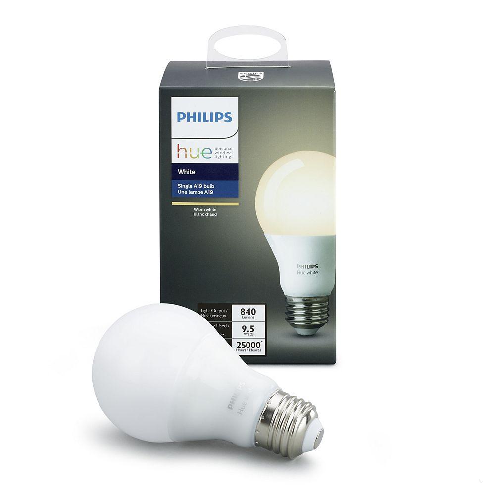 Philips Ampoule à DEL Hue A19 certifiée ENERGY STAR, blanc