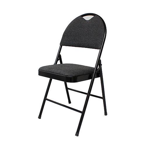 Chaise pliante rembourrée, noire