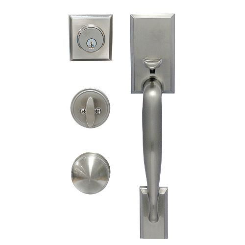 Alexander Satin Nickel Single Cylinder Knob Door Handleset with Saturn Interior Knob