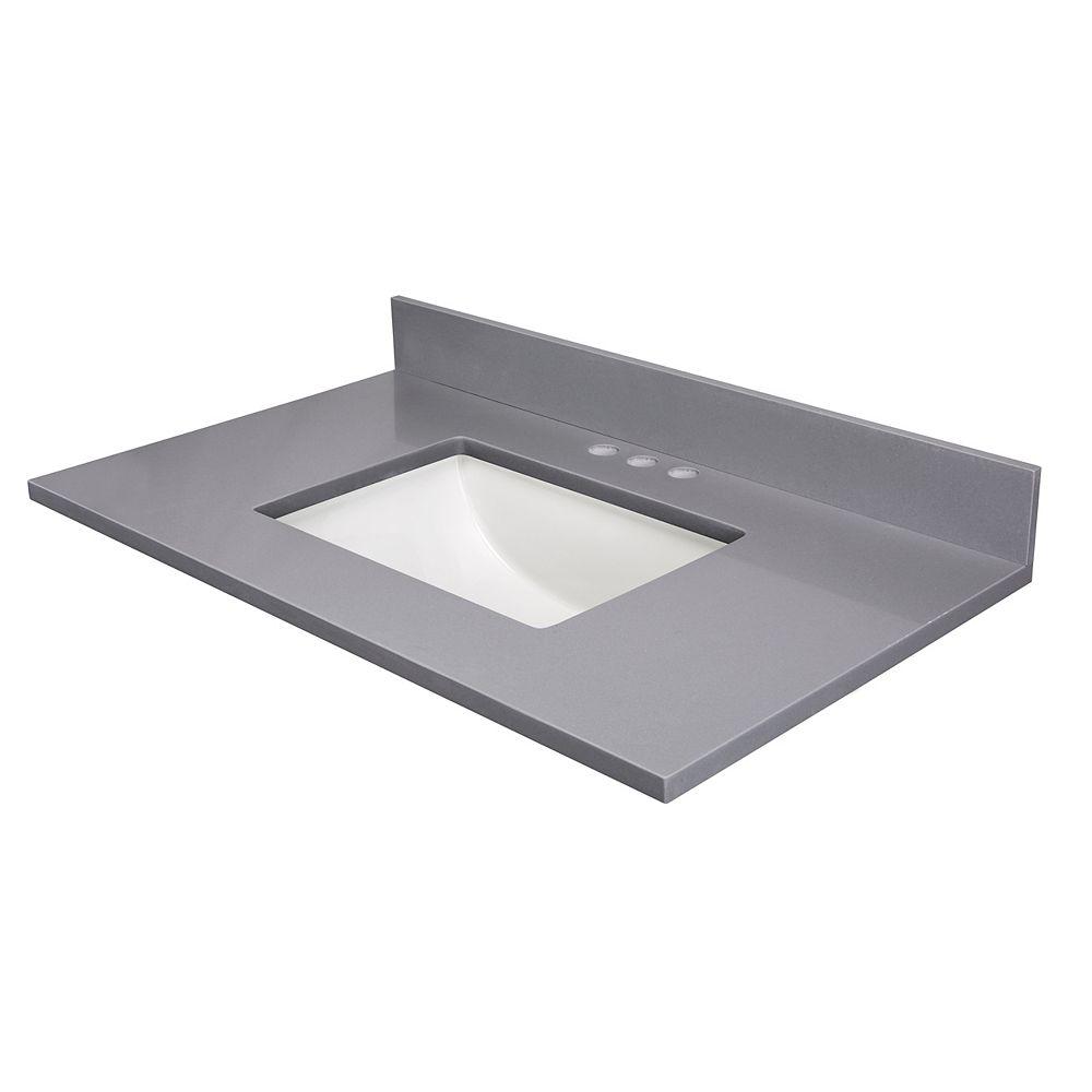 Cutler Kitchen & Bath 37 Inch  Grey Quartz 4 Inch  On Center Drilling Single Bowl