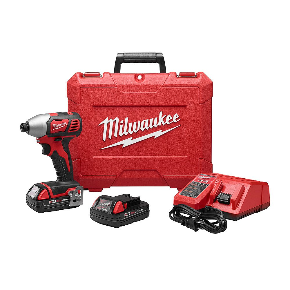 Milwaukee Tool M18 18-Volt Lithium-Ion Cordless 1/4 in. Impact Driver Kit with (2) 1.5Ah Batteries and Hard Case