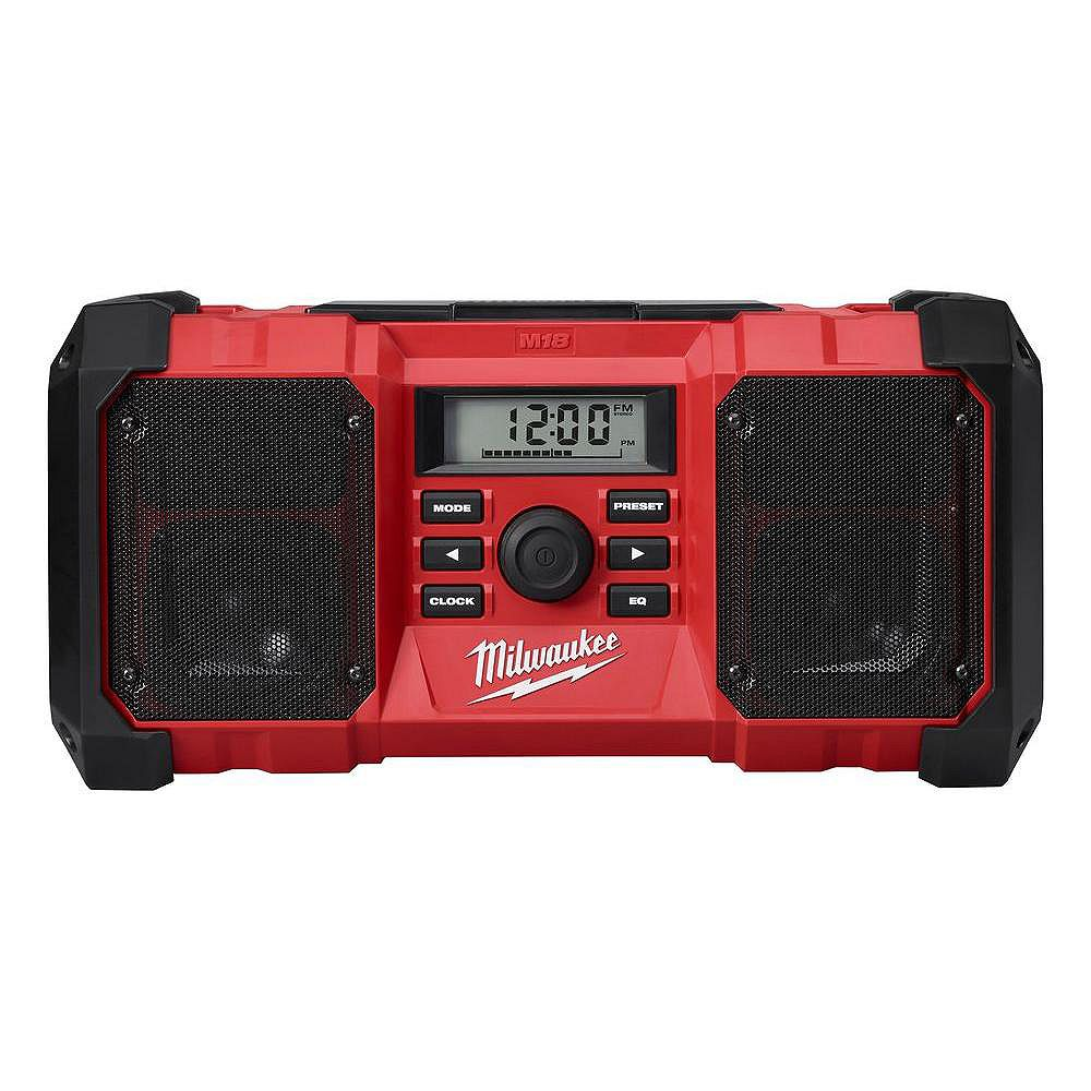 Milwaukee Tool M18 18V Lithium-Ion Cordless Jobsite Radio with Durable Body and 3.5mm Auxiliary Jack (Tool Only)