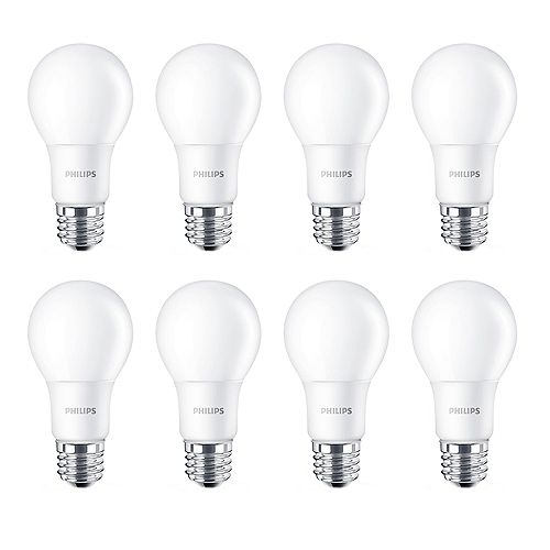60W Equivalent Daylight (5000K) A-Line (A19) LED Light Bulb (8-Pack)