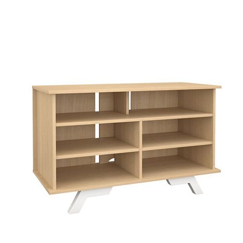 104139 Stiletto Tallboy / Storage Unit, 42-inch, Natural Maple & White
