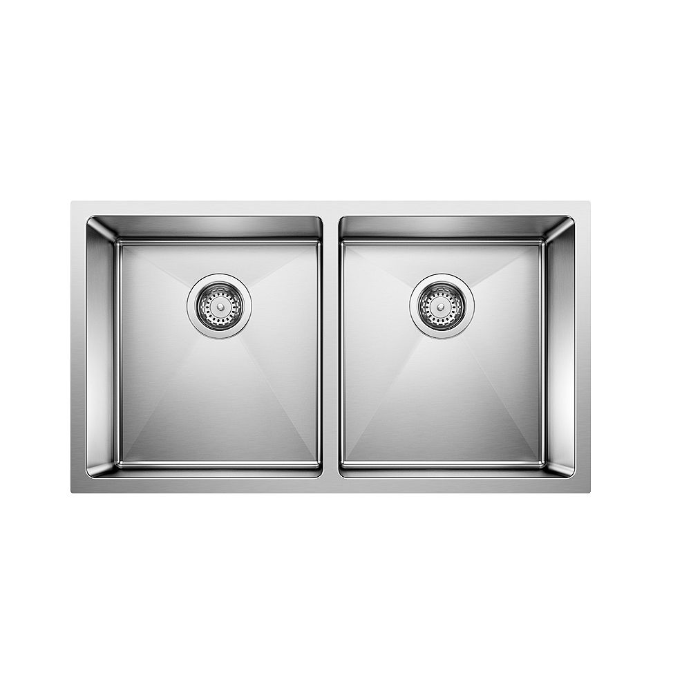Blanco QUATRUS R15 U 2, Double Bowl Undermount Kitchen Sink, Stainless Steel