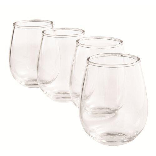 Set of 4 Plastic Stemless Wine Glasses