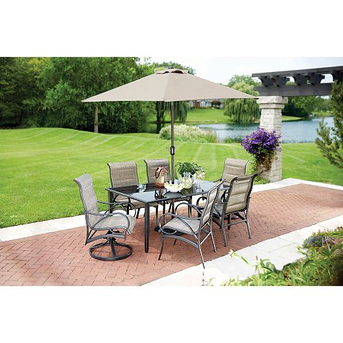 Valley Stream Rubbed Bronze 8-Piece Padded Sling Patio Dining Set with Umbrella