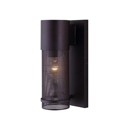 Canarm Applique d'extérieur à 1 ampoule avec diffuseur en maille et verre transparent Alfie, bronze huilé