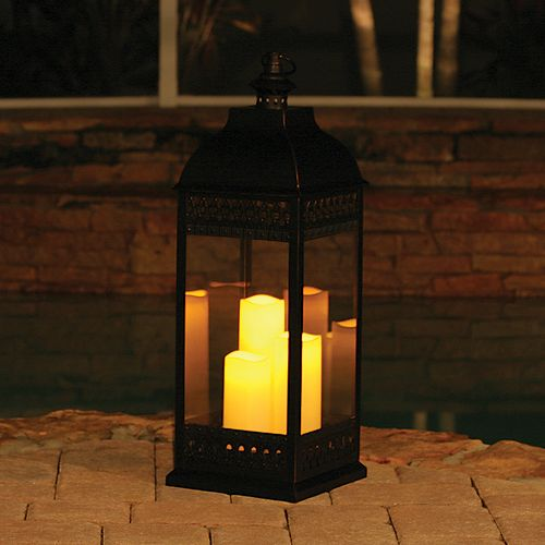 San Nicola Triple Candle LED Lantern with On/Off Timer in Bronze