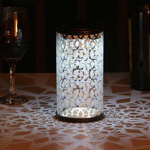 Frosted Fretwork Cylinder Antique Brown Solar Lantern