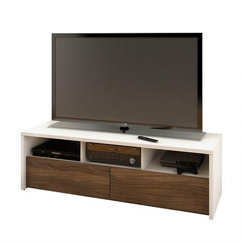 Meuble téléviseur Liber-T, 59,875po x 18,625po x 19,875po, blanc